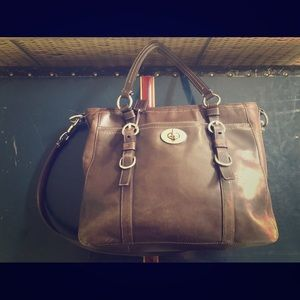 Brown Coach leather handbag